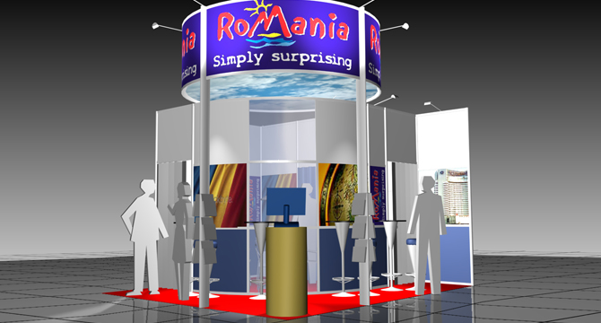 Stand concept and 3D visuall proposal / Romania Tourism